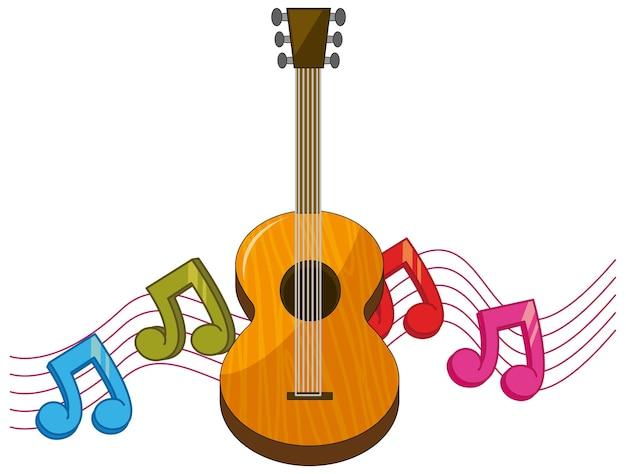 배경에 음악 노트가 있는 클래식 기타