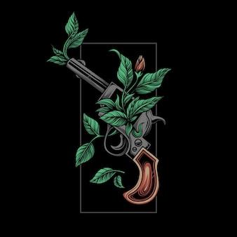 植物と古典的な銃のイラスト