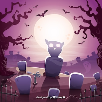 Classic halloween background with flat design