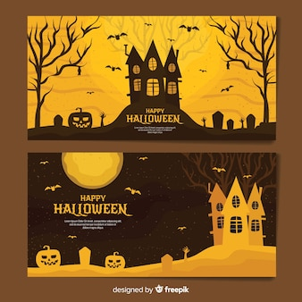 Classic halloween banners with vintage style
