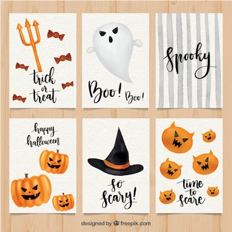 Schede classiche di halloween con stile acquerello