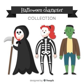 Classic halloween character collection with flat design