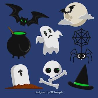 Классическая коллекция элементов хэллоуина с плоским дизайном