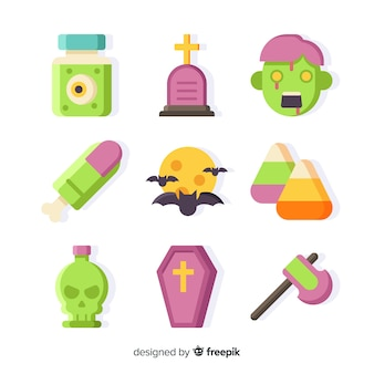 Classic halloween element collection with flat design