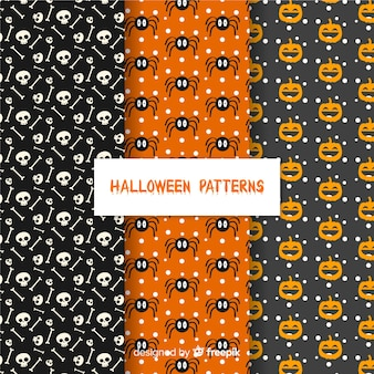 Classic halloween pattern collection with flat design