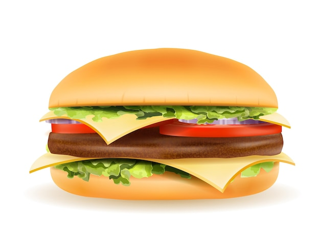 Classic hamburger with meat chop tomato onion and cheese in a bun on white