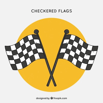 Classic hand drawn checkered flags
