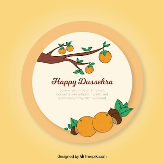 Classic hand drawn dussehra composition