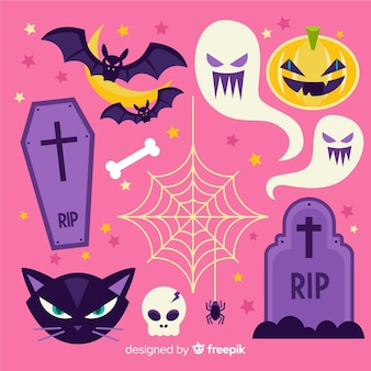 Classic hand drawn halloween element collection