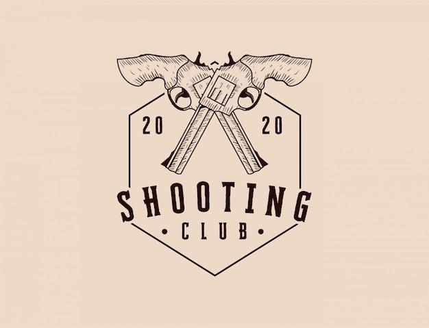 銃射撃クラブのロゴの古典的な手描き