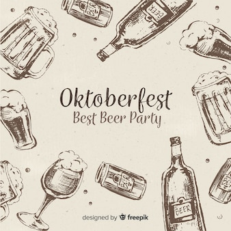 Classic hand drawn oktoberfest composition