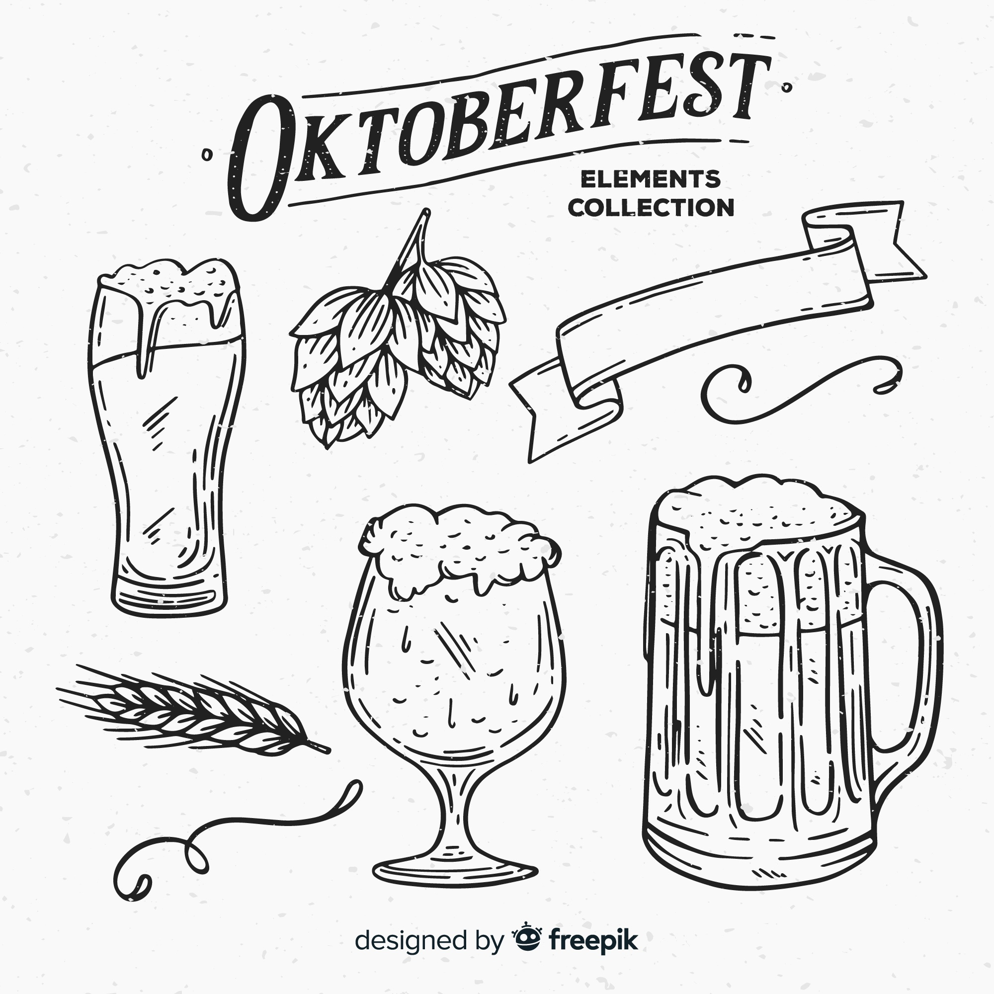 Classic hand drawn oktoberfest element collection