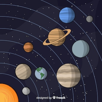 Classic hand drawn solar system compositio