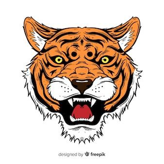 Classic hand drawn tiger compositio