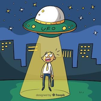 Classic hand drawn ufo abduction concept
