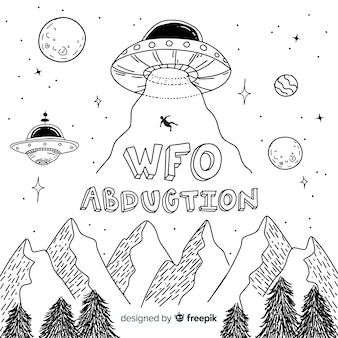 Classic hand drawn ufo abduction concept