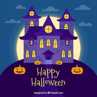 Classic haunted house with flat design