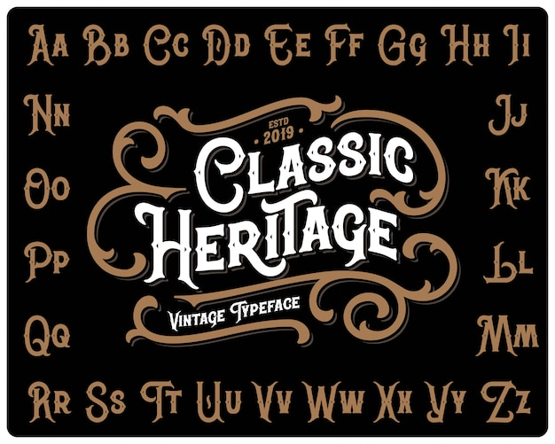 Classic heritage font set with decorative ornament