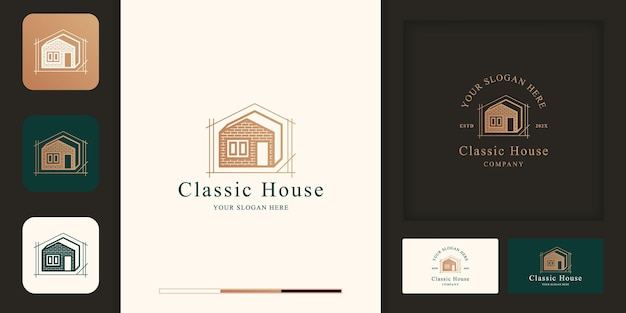 Classic house design logo with bricks and business card