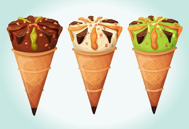Classic ice cream cones set