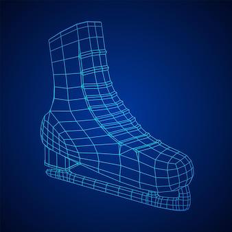 古典的なアイスフィギュアスケートスポーツ用品。ワイヤーフレーム低ポリメッシュベクトルイラスト。