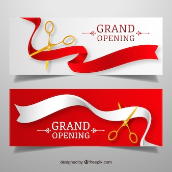 Classic inauguration banners with golden scissors