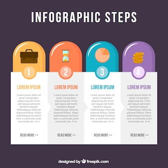 Classic infographic steps with flat design