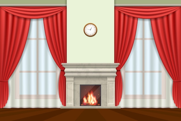 Classic interior. living room interior with curtains and fireplace