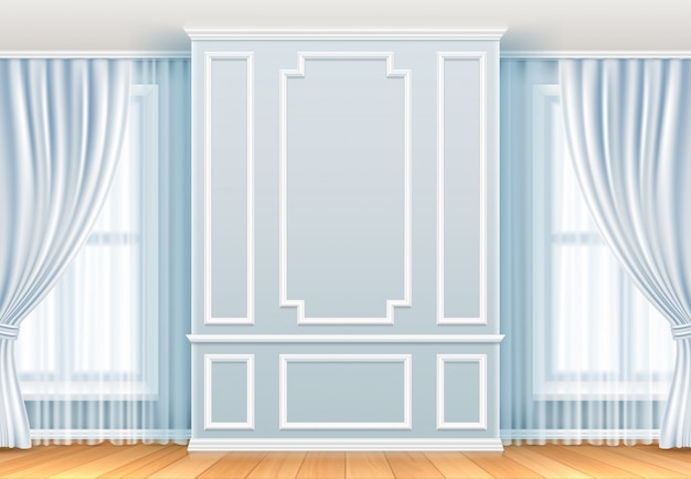 Classic interior. white wall with moulding frames and window. home room vintage vector decoration