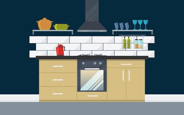 電化製品、食器棚、オーブン、やかん、家具を備えたクラシックなキッチン。フラットスタイル。 Premiumベクター