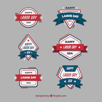 Classic labor day badge collection with flat design