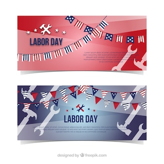 Classic labor day banners with flat design