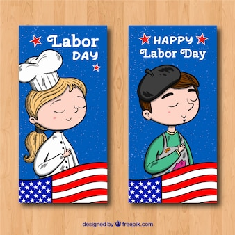 Classic labor day banners with hand drawn style