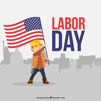 Classic labor day composition with flat design