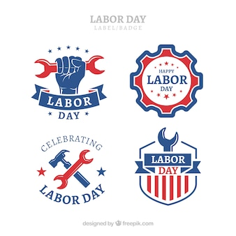 Classic labor day label collection with flat design