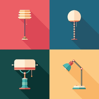 Classic lamps flat square icons with long shadows.