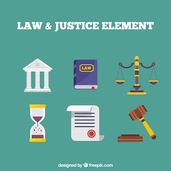 Classic law and justice elements with flat design
