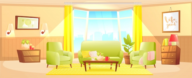 Classic living room home interior design banner.