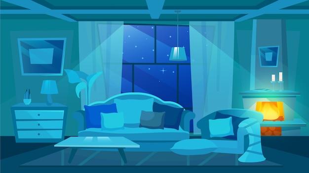 クラシックなリビングルームのインテリアフラットイラスト。アパートの家具の夜景。エレガントなソファ、装飾的なクッション付きのアームチェア。燃える薪のある暖炉。屋外の星空