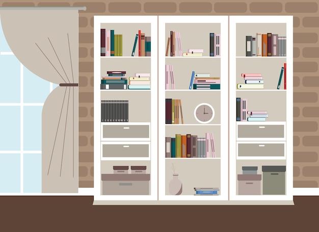 Классический интерьер гостиной в светлых тонах. в интерьере есть окно в пол и белый книжный шкаф с множеством книг.