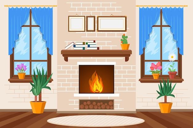 Интерьер классической гостиной с камином, книжными полками и комнатными растениями. иллюстрация