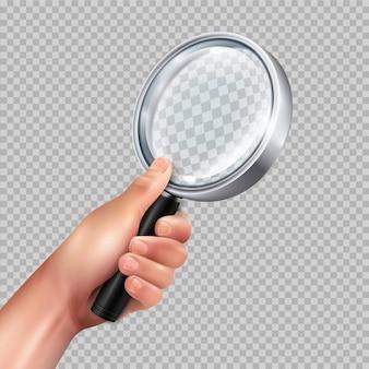 リアルな透明なクローズアップ画像に対して人間の手で古典的な虫眼鏡ラウンド金属フレーム