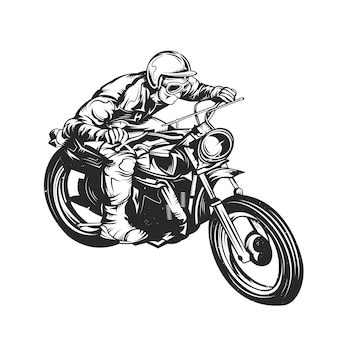 Classic man on motorcycle