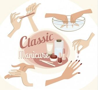 Classic manicure illustration