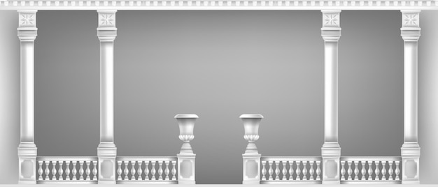 고전적인 대리석 기둥과 흰색 발코니