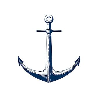 클래식 해양 앵커 그림입니다. 해상 선박 계류 기기, 흰색에 고립 된 전통적인 선박 액세서리