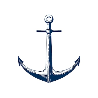 Classic marine anchor illustration. nautical vessel mooring appliance, traditional ship accessory isolated on white