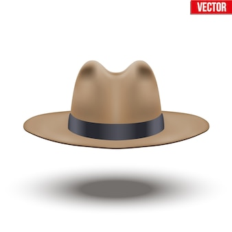 Classic men hat. brown color with black ribbon. accessory for beauty stylish man and gentlemens.  illustration  on white background.