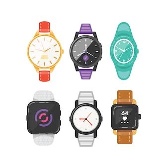 Классические мужские и женские часы набор иконок. часы для бизнесмена, умные часы и коллекция модных часов.