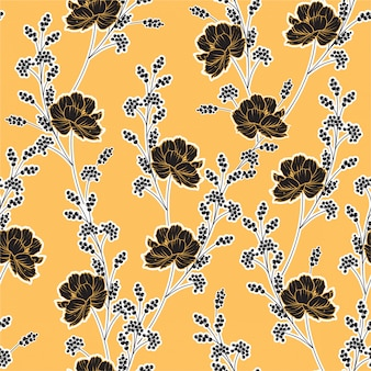 Classic minimal meadow wild flowers seamless pattern
